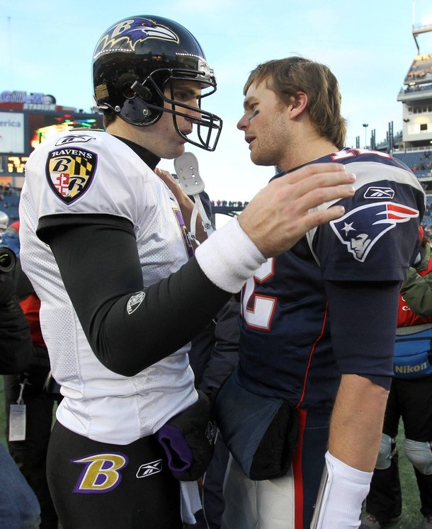 Baltimore Ravens quarterback Flacco and quarterback Brady of the New England Patriots talk about their NFL AFC wild-card playoff game in Foxborough, Massachusetts.